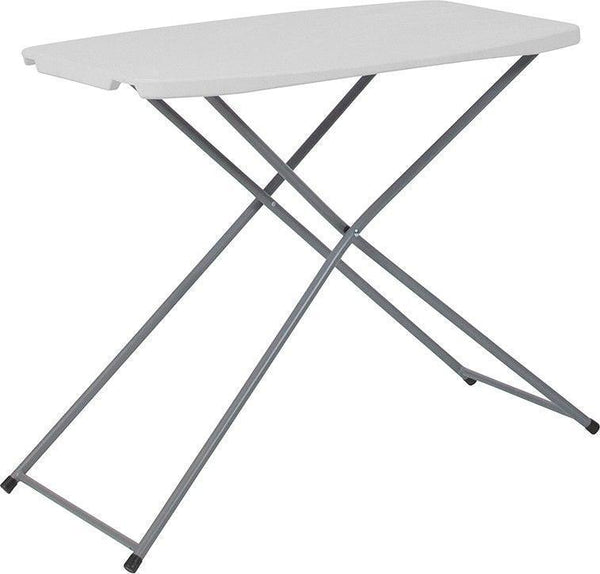 10 PACK 18.75''W x 29''L Height Adjustable Granite White Plastic Folding Tables - RB-3020ADJ-RES-GG