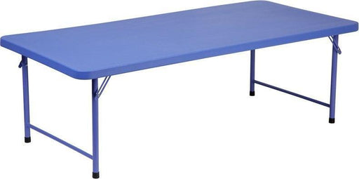 Flash Furniture RB-3060-KID-BL-GG 30''W x 60''L x 19''H Kid's Blue Plastic Folding Table