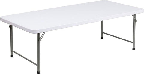 Flash Furniture RB-3060-KID-GG 30''W x 60''L x 19''H Kid's Granite White Plastic Folding Table