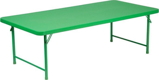 Flash Furniture RB-3060-KID-GN-GG 30''W x 60''L x 19''H Kid's Green Plastic Folding Table