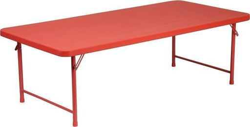 Flash Furniture RB-3060-KID-RD-GG 30''W x 60''L x 19''H Kid's Red Plastic Folding Table