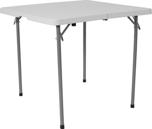 500 PACK 34'' Square Bi-Fold Granite White Plastic Folding Tables with Carrying Handle - RB-3434FH-GG