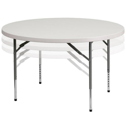 500 PACK 48'' Round Height Adjustable Granite White Plastic Folding Tables - RB-48-ADJUSTABLE-GG