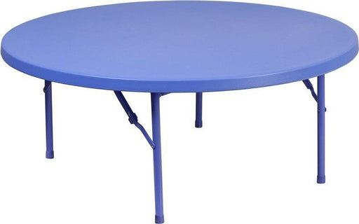 500 PACK 48'' Round Kid's Blue Plastic Folding Tables - RB-48R-KID-BL-GG