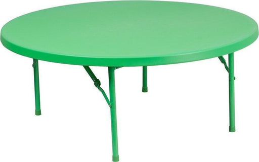 500 PACK 48'' Round Kid's Green Plastic Folding Tables - RB-48R-KID-GN-GG