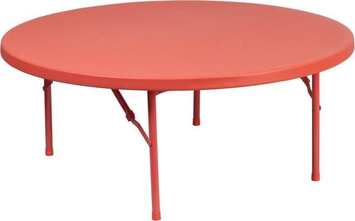 500 PACK 48'' Round Kid's Red Plastic Folding Tables - RB-48R-KID-RD-GG