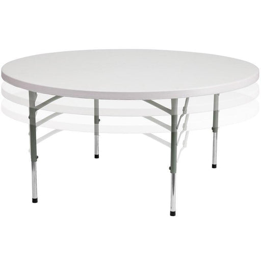 500 PACK 60'' Round Height Adjustable Granite White Plastic Folding Tables - RB-60-ADJUSTABLE-GG