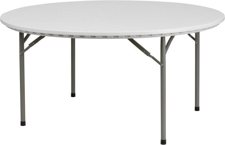Flash Furniture RB-60R-GG 60'' Round Granite White Plastic Folding Table