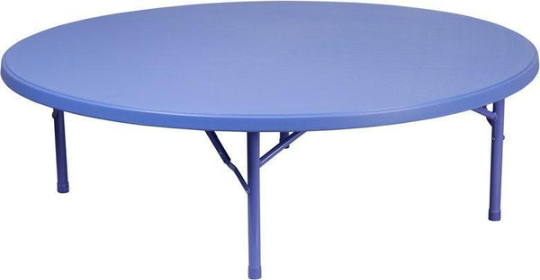 Flash Furniture RB-60R-KID-BL-GG 60'' Round Kid's Blue Plastic Folding Table