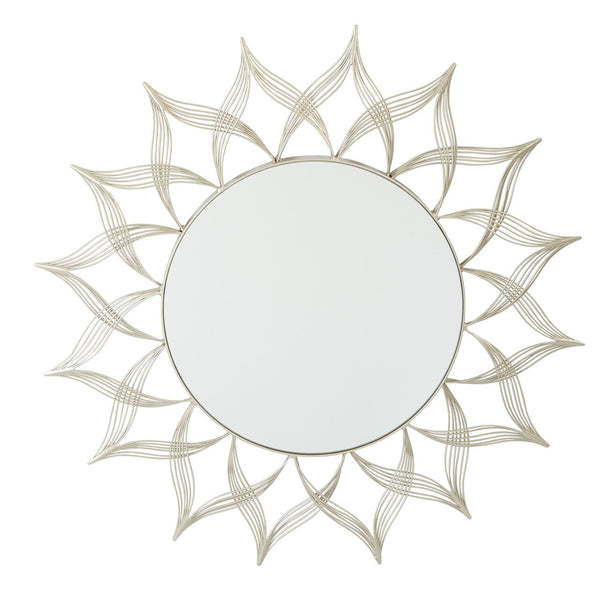 OSP Designs Matte Gold Metal Round Mirror in Matte Gold