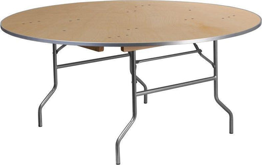 500 PACK 66'' Round HEAVY DUTY Birchwood Folding Banquet Tables with METAL Edges - XA-66-BIRCH-M-GG