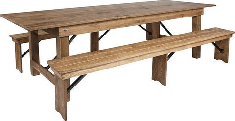 Flash Furniture XA-FARM-6-GG HERCULES Series 9' x 40'' Antique Rustic Folding Farm Table and Two Bench Set