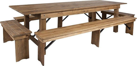 Flash Furniture XA-FARM-7-GG HERCULES Series 9' x 40'' Antique Rustic Folding Farm Table and Four Bench Set