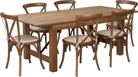 Flash Furniture XA-FARM-9-GG HERCULES Series 7' x 40'' Antique Rustic Folding Farm Table Set with 6 Cross Back Chairs and Cushions