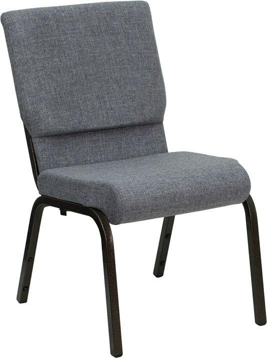 LOT of  150 HERCULES Series 18.5''W Stacking Church Chairs in Gray Fabric - Gold Vein Frame - XU-CH-60096-BEIJING-GY-GG