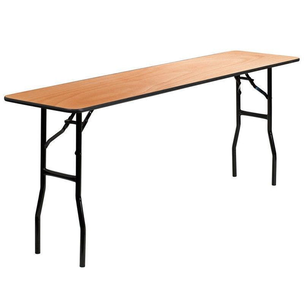 10 PACK 18'' x 72'' Rectangular Wood Folding Training / Seminar Table with Smooth Clear Coated Finished Top - YT-WTFT18X72-TBL-GG