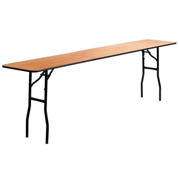 10 PACK 18'' x 96'' Rectangular Wood Folding Training / Seminar Table with Smooth Clear Coated Finished Top - YT-WTFT18X96-TBL-GG