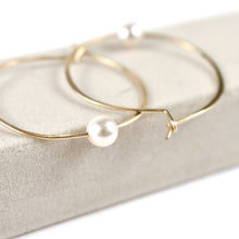 Load image into Gallery viewer, Akoya  Pearl Hoop Earrings, pearl detail