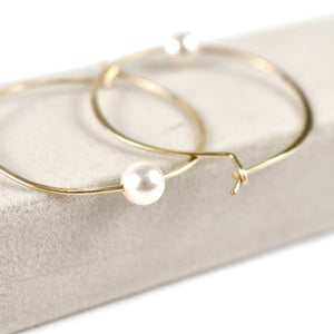 Akoya  Pearl Hoop Earrings, pearl detail