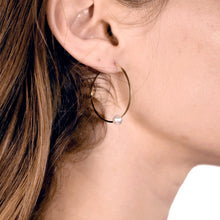 Load image into Gallery viewer, Akoya Pearl Hoop Earrings on model
