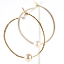 Load image into Gallery viewer, Akoya  Pearl Hoop Earrings, side detail