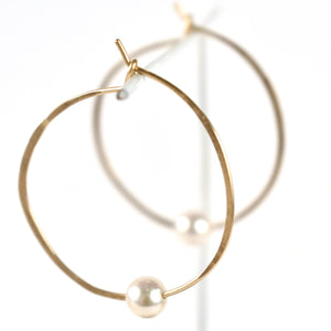 Akoya  Pearl Hoop Earrings, side detail