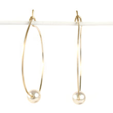 Load image into Gallery viewer, Akoya  Pearl Hoop Earrings, clasp detail
