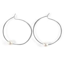 Load image into Gallery viewer, Akoya  Pearl Hoop Earrings in Sterling silver