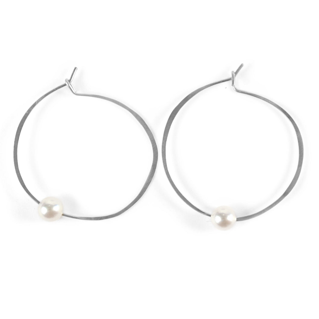 Akoya  Pearl Hoop Earrings in Sterling silver