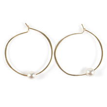 Load image into Gallery viewer, Akoya Pearl Hoop Earrings in 14k gold fill