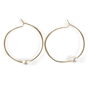 Akoya Pearl Hoop Earrings in 14k gold fill