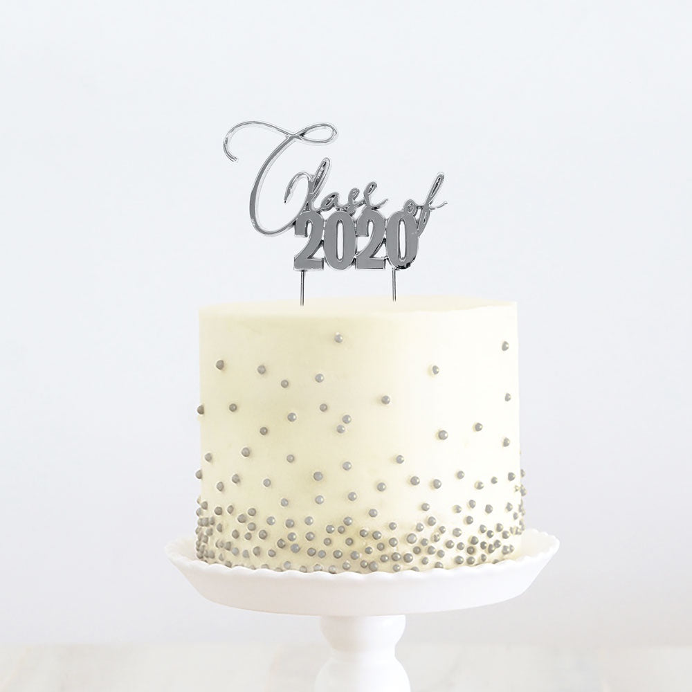 Class of 2020- Cake topper- Silver