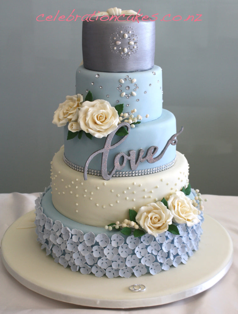 5 Tier Ivory & Blue- Double sided , cake