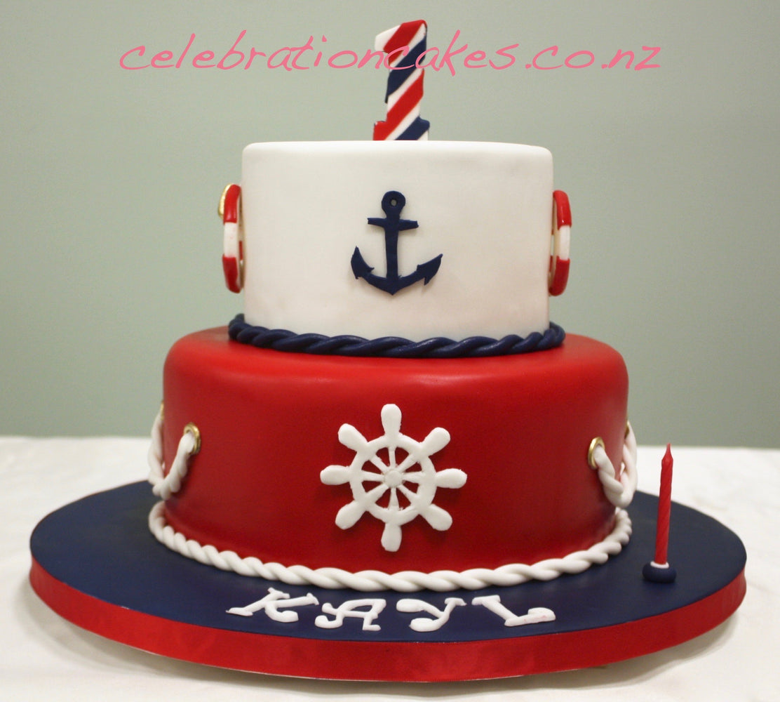 Nautical 2 Tier , cake
