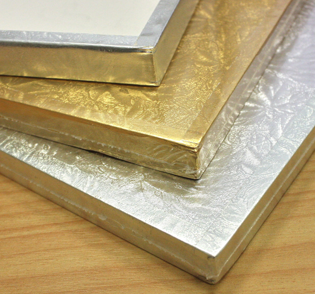 "Cake Board 14mm- Square 8"" Gold , cake board"