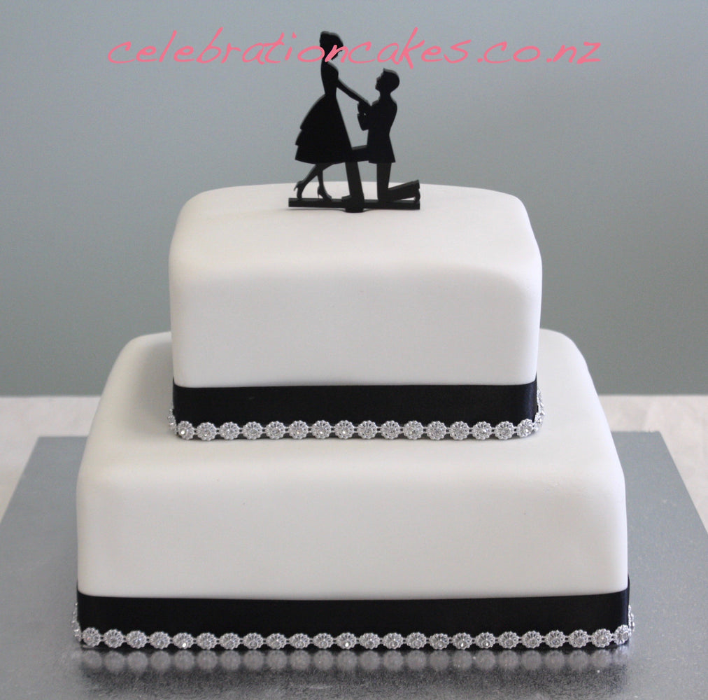 Black & Silver Engagement , cake