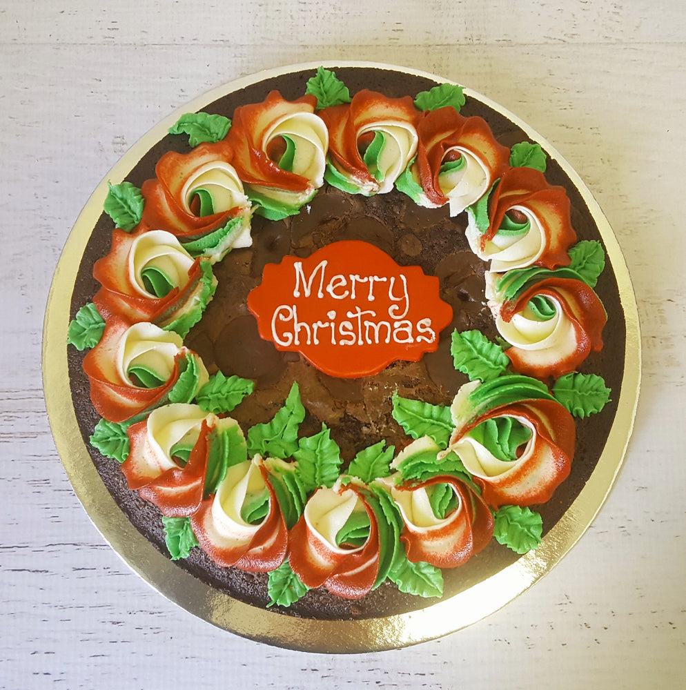Brownie Cake- Christmas Wreath , cake