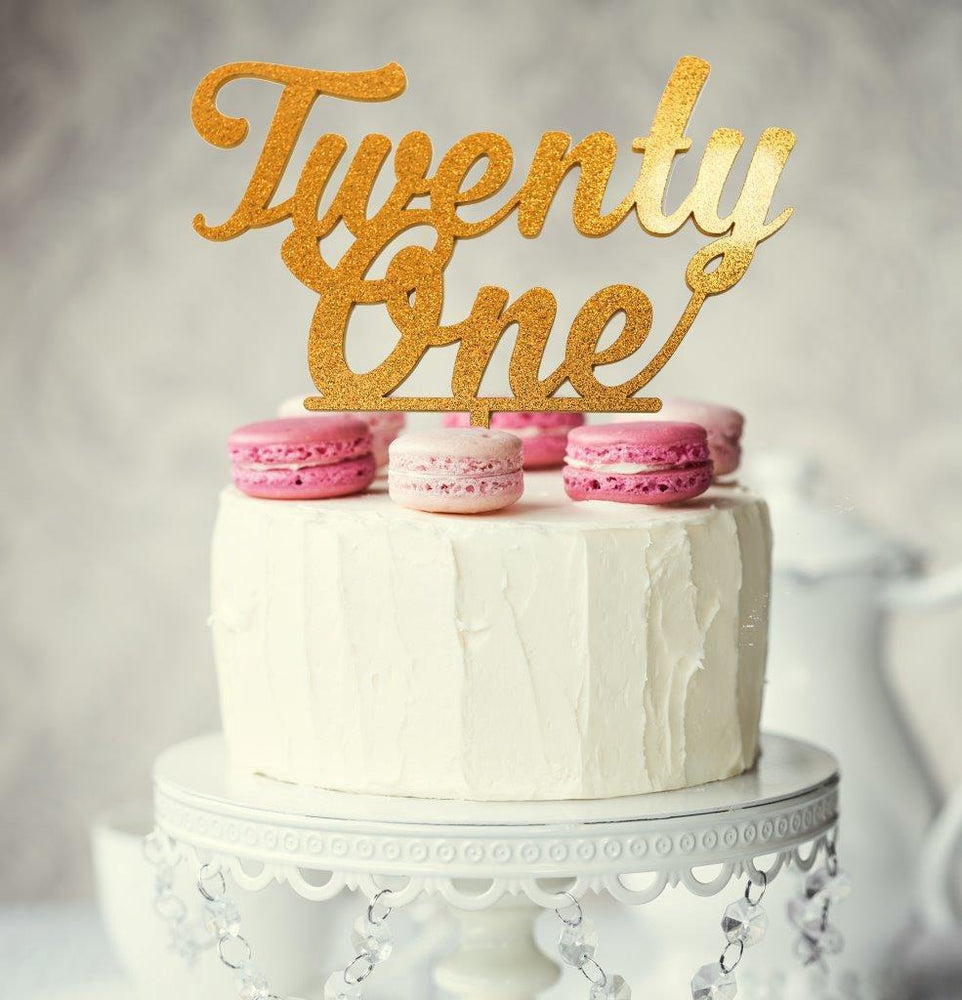 Cake toppers and figurines celebration cakes cakes and decorating twenty one topper gold junglespirit Image collections