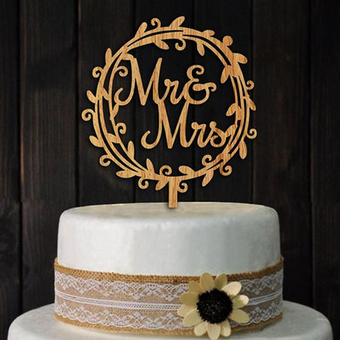Wooden Mr & Mrs with Wreath – Celebration Cakes- Cakes and ...