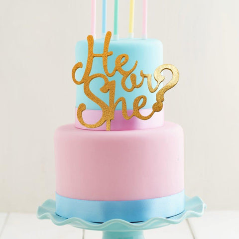 He Or She? Gender Reveal Topper- Gold
