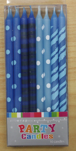 Taper Candles- Blue Patterned