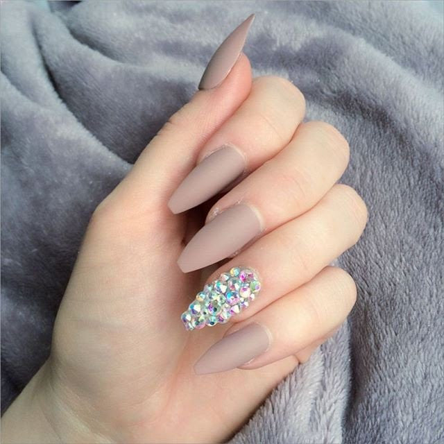 NUDE MATTE NAILS WITH DIAMANTE