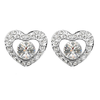 WHITE GOLD PLATED AND CRYSTAL ELEMENTS HEART SHAPED EARRINGS
