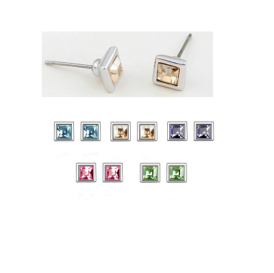 Platinum Plated Zara Stud Earrings (Set of 5)