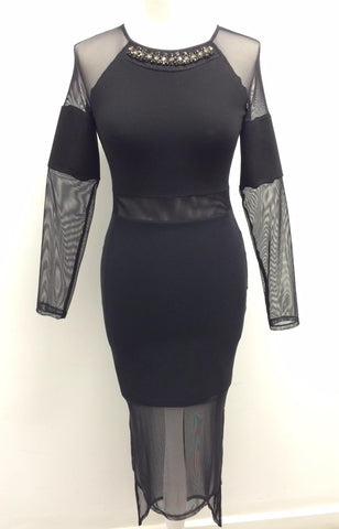 EMBELLISHED NECK TRIM BODYCON DRESS/LONG