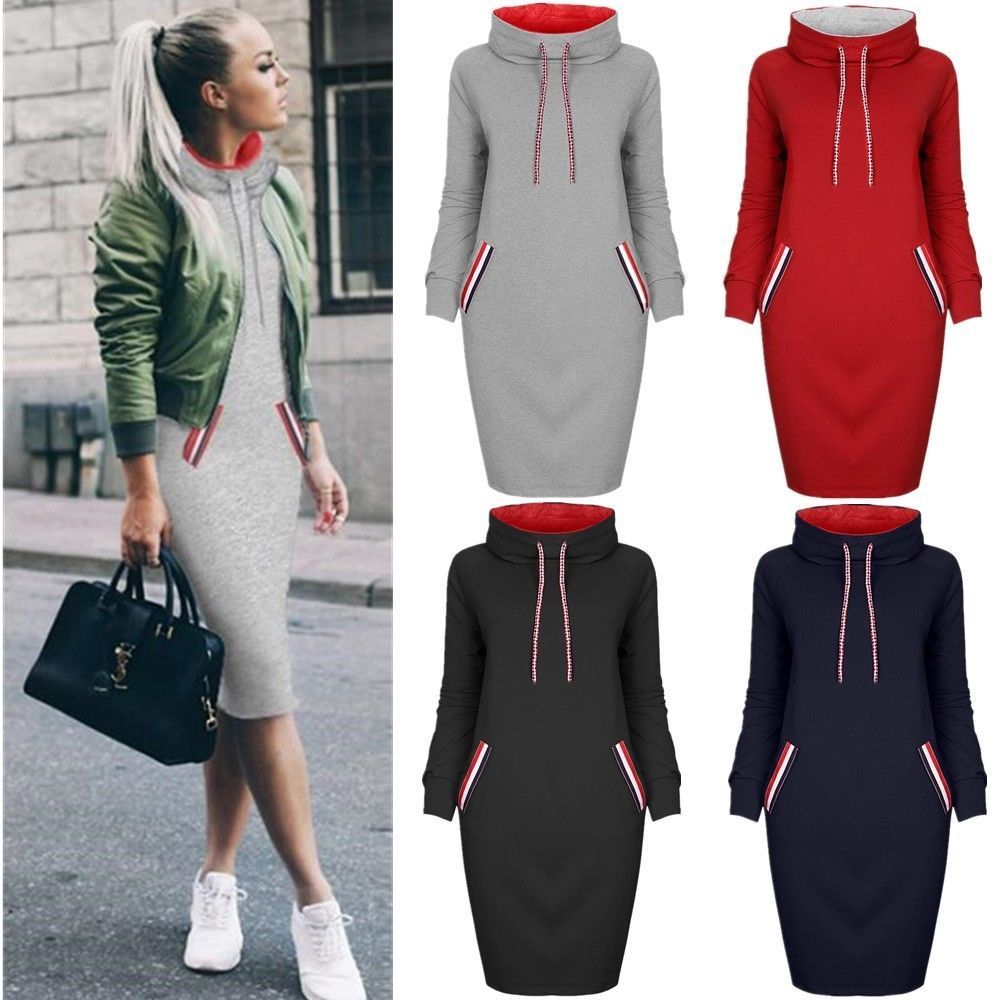 Hooded Pocket Drawstring Shift Dress