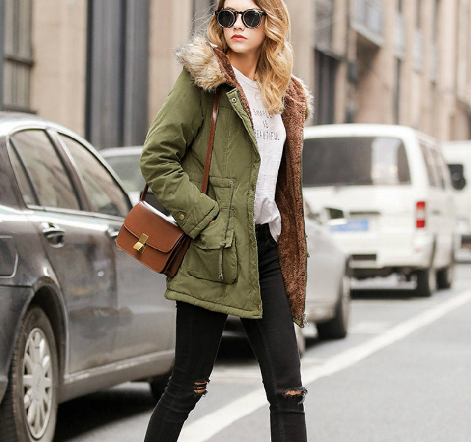 COLLAR FAUX FUR PARKA COAT