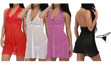 Load image into Gallery viewer, BABYDOLL CHEMISE WITH G-STRING SET - FOUR COLOURS