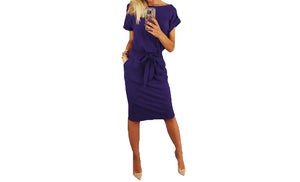 CHIC BELTED MIDI DRESS-THREE COLOURS