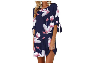 LINED FLORAL CASUAL DRESS